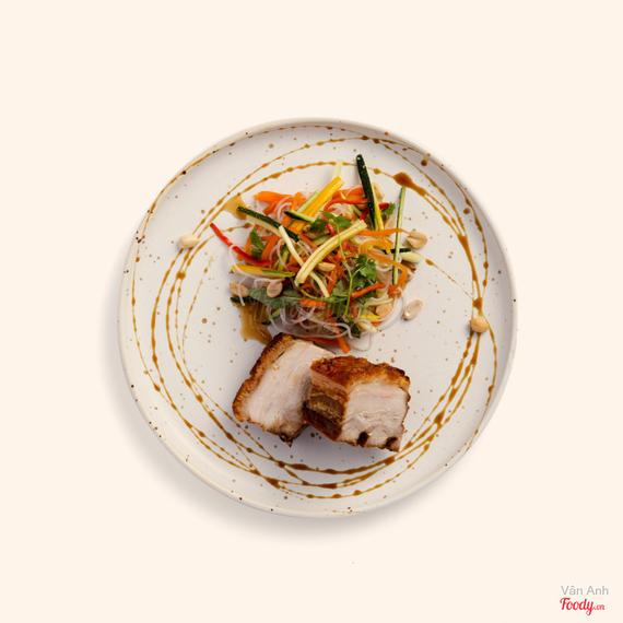 Crispy roast pork belly with glass noodle salad + nahm jim dressing