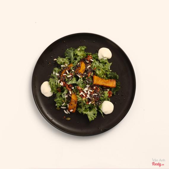 Honey roasted pumpkin + kale salad with spiced cashews + feta mouse + chorizo jam