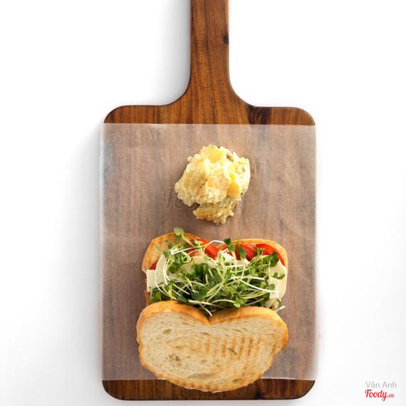 Tomato + fresh mozzarella + feta sandwich on linseed bread