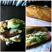 Tên món: Bánh mì Huỳnh Hoa. Mô tả: bánh mì, thịt nguội, chả lụa, pa tê, bơ, dưa chua, dưa leo, hành. Giá: 27.000 VND