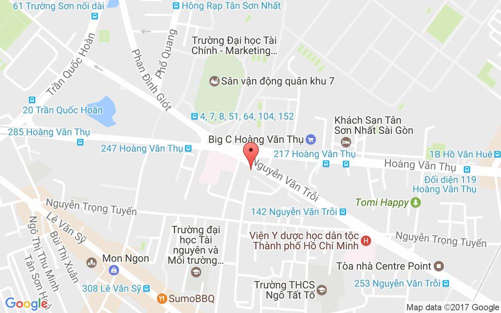 Vị trí bản đồ Park Royal Hotel, 309B – 311 Nguyễn Văn Trỗi, P. 1 Quận Tân Bình TP. HCM