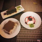 Desserts: not-remember, tiramisu, panna cotta
