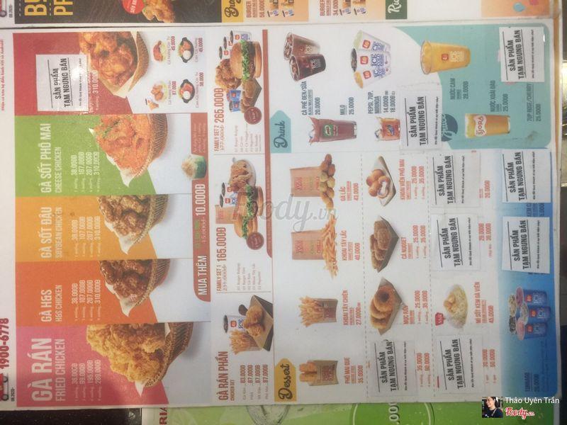 menu rất đa dạng