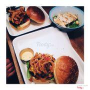 Off-chops chili burger + smokey bacon & chi burger, ceasar salad