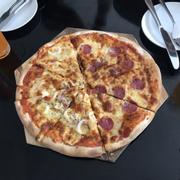 Pizza seafood and peperoni.