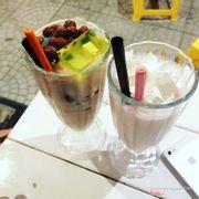 trà sữa + smoothie dâu