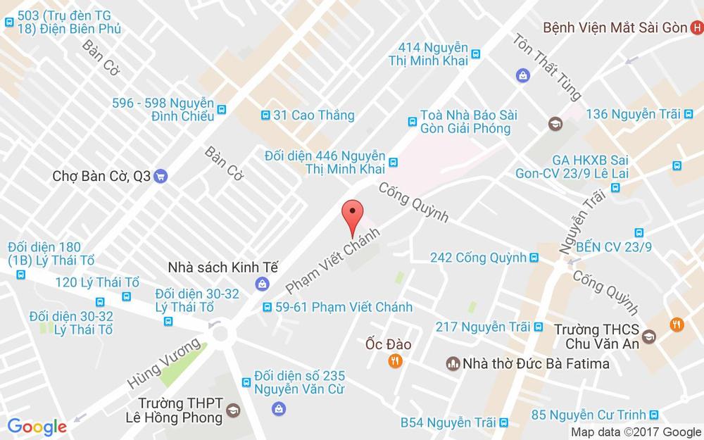 Vị trí bản đồ 19 - 21 - 23 Phạm Viết Chánh Quận 1 TP. HCM