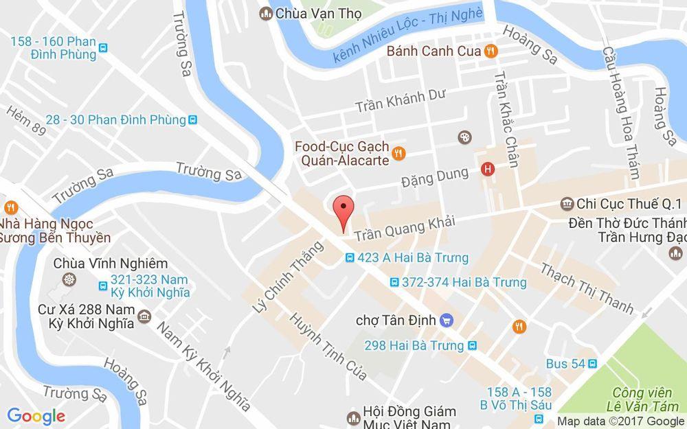 Vị trí bản đồ 218 - 220 Trần Quang Khải, P.Tân Định Quận 1 TP. HCM