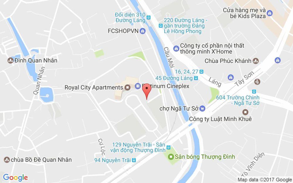 Vị trí bản đồ Royal City, 72 Nguyễn Trãi Quận Thanh Xuân Hà Nội
