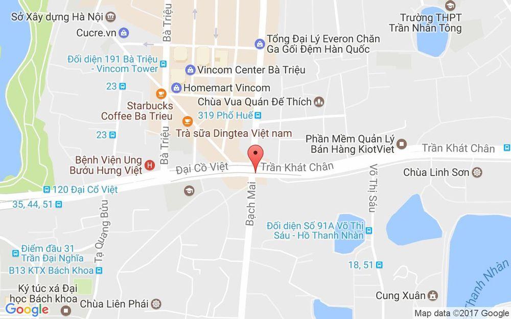 Vị trí bản đồ 17 Bạch Mai, P. Thanh Nhàn Quận Hai Bà Trưng Hà Nội