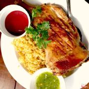 Grilled Chicken Rice - Cơm gà nướng.  Chỉ với 80K với miếng gà siêu to.  Hầu như phải 2 người mới ăn hết 1 phần