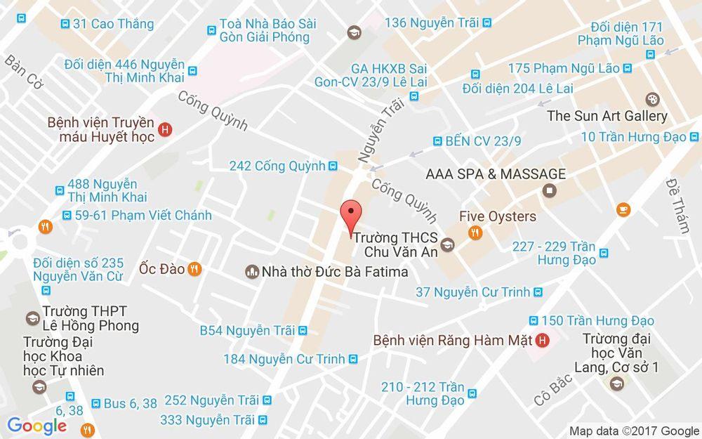 Vị trí bản đồ 233/18 Nguyễn Trãi, P. Nguyễn Cư Trinh Quận 1 TP. HCM