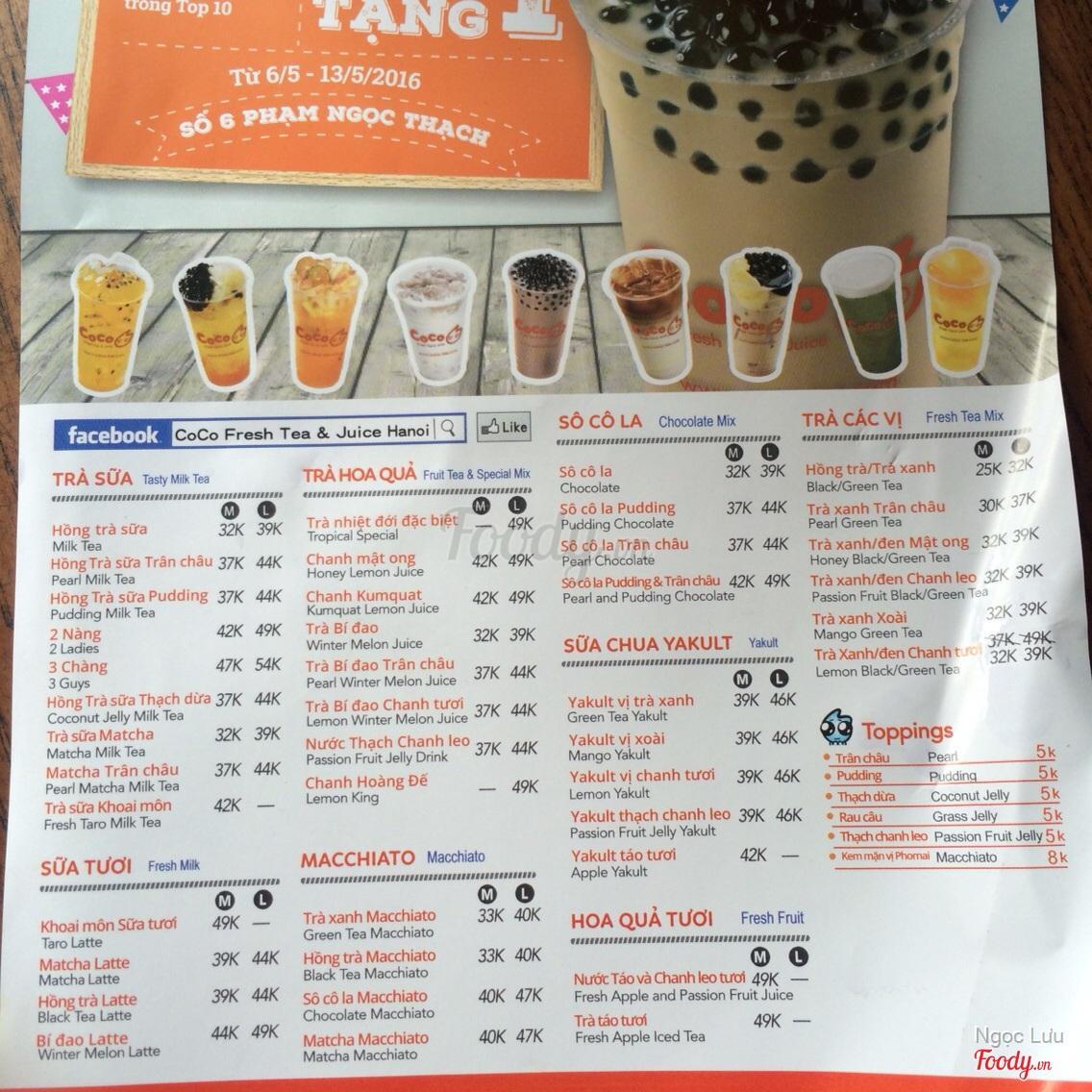 Coco Fresh Tea & Juice - Phạm Ngọc Thạch ở Quận Đống Đa, Hà