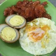 Sides: Fried egg, soyu eggs, and caramelized shrimp