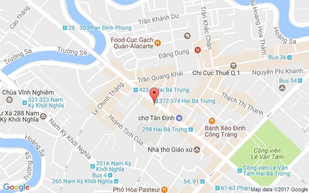 Vị trí bản đồ 387 Hai Bà Trưng, P.Tân Định Quận 1 TP. HCM
