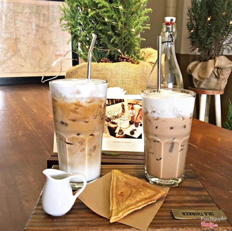 latte đá + black tea macchiato
