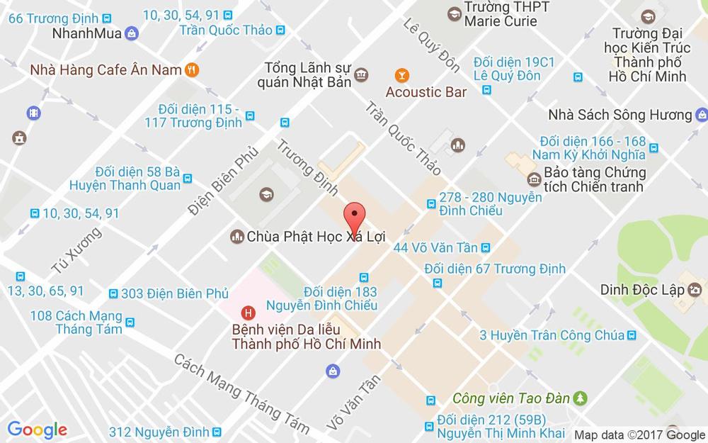 Vị trí bản đồ 2 Hồ Xuân Hương Quận 3 TP. HCM