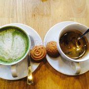 Matcha latte + Espresso milk
