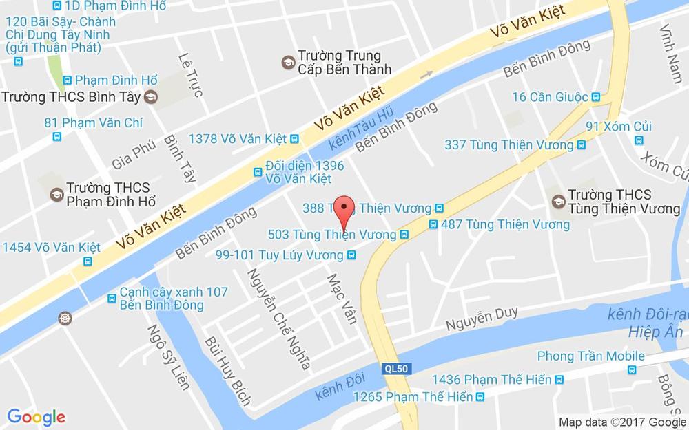 Vị trí bản đồ 40 - 54 Tuy Lý Vương, P. 13 Quận 8 TP. HCM