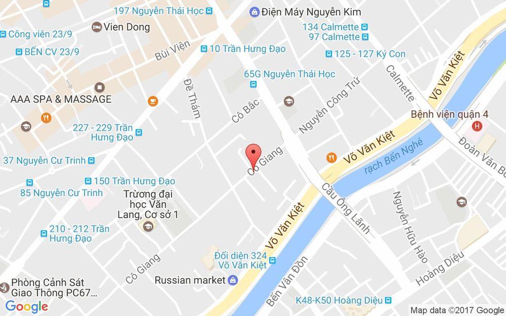 Vị trí bản đồ 47 Cô Giang, P. Cầu Ông Lãnh Quận 1 TP. HCM