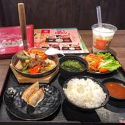 Combo Teppan bò mỹ sốt tiêu đen & trà sữa gạo rang Osaka