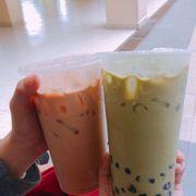 Trà sữa bánh plan trà xanh, phô mai (20k) + trà sữa thái xanh plan trứng (20k)!