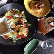Salads and teriyaki rice. Mediocre.
