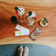 Sinh tố dâu tây + trà vỏ cam dâu