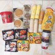 Chocolate bánh, bánh ông già lớn, bánh ông già nhỏ, trà sữa Taiwan, bánh hoa cúc, mì cay Samyang, toppokki Hàn.