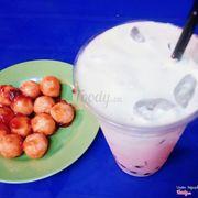 Cá viên xa tế và trà sữa mây