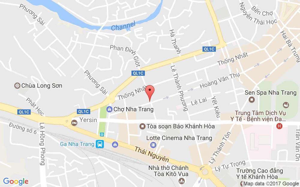 Vị trí bản đồ 140 Hoàng Văn Thụ, P. Phương Sài  Tp. Nha Trang Khánh Hoà