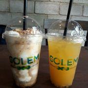 Cafe dừa đá xay + nước chanh dây