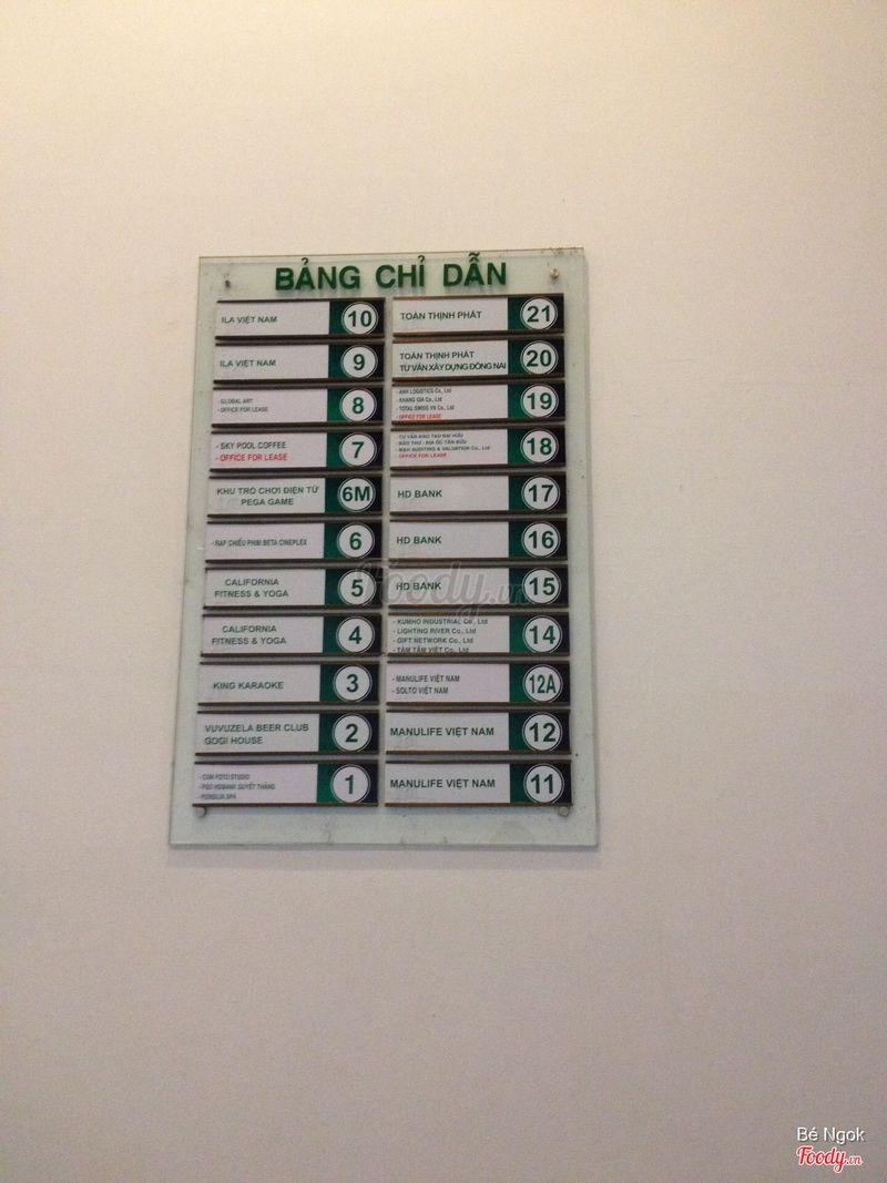 Bảng chỉ dẫn toà nhà Pegasus : Beta Cineplex nằm ở tầng 6