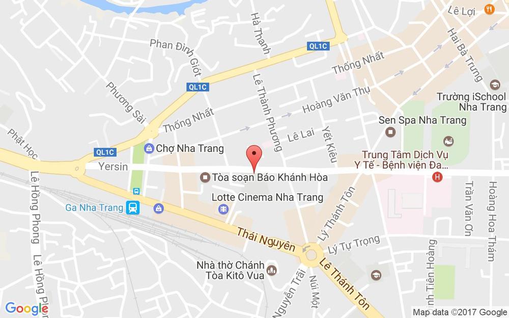 Vị trí bản đồ 60B Yersin Tp. Nha Trang Khánh Hoà