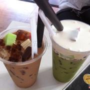 Trà xanh kem sữa + trà sữa thạch