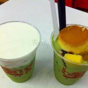 Trà sữa Thái xanh milk foam + kem flan