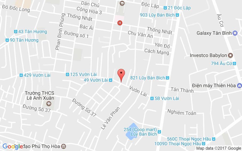 Vị trí bản đồ 53 Vườn Lài, P. Tân Thành Quận Tân Phú TP. HCM