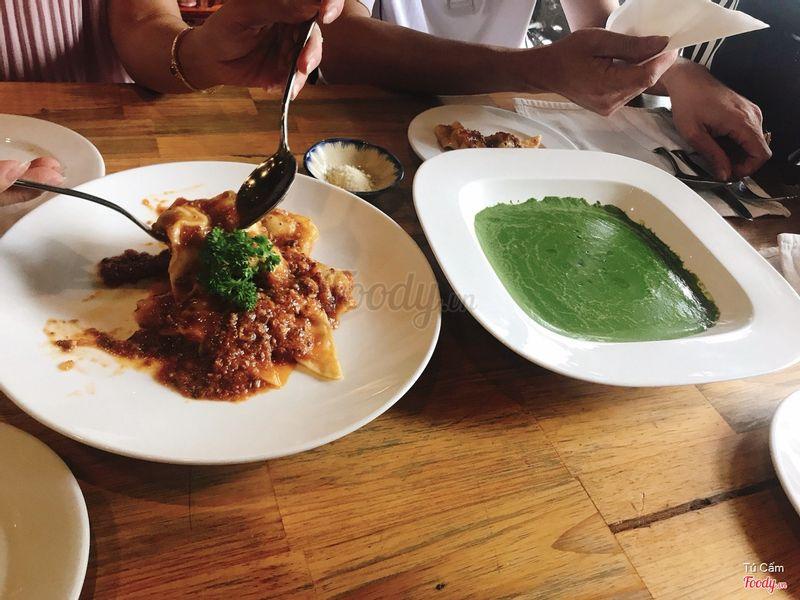 Spaghetti bò + soup bó xôi