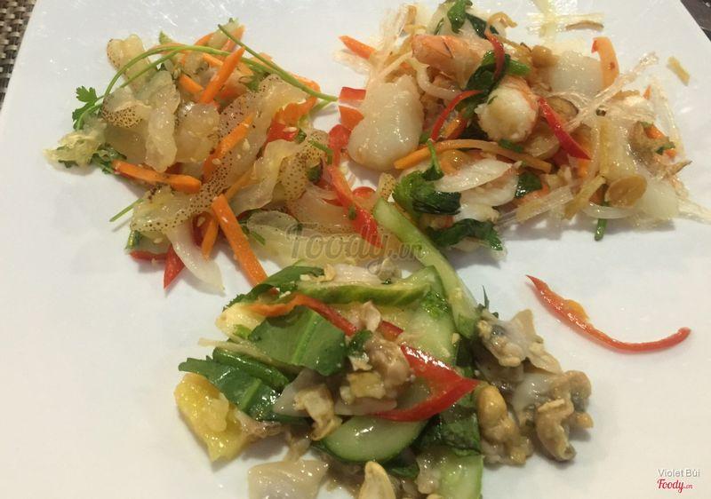 3 loại gỏi hải sản sứa, nghêu, tôm sò điệp