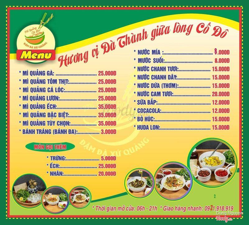 Yêu cầu foodyhue thêm menu cho đầy đủ để khách hàng lựa chọn