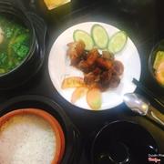 Heo quay sốt hongkong + canh cua rau đay