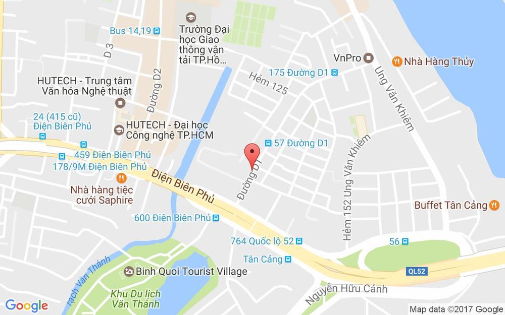 Vị trí bản đồ 127 Đường D1, P. 25 Quận Bình Thạnh TP. HCM