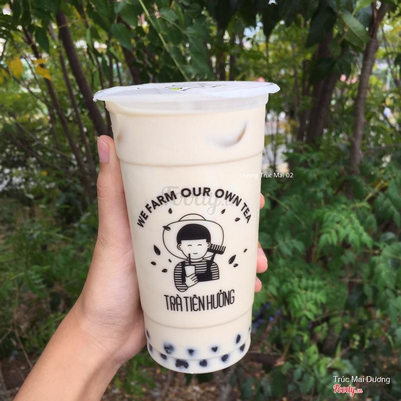 Trà sữa Trà xanh  trân châu đen & flan