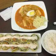 Trứng cuộn + tokbokki ramen