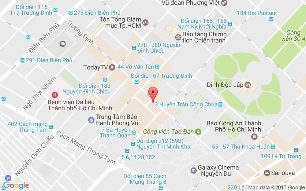 Vị trí bản đồ 9 Trương Định, P. 6 Quận 3 TP. HCM