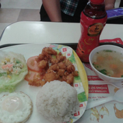 Chicken ball rice and soup