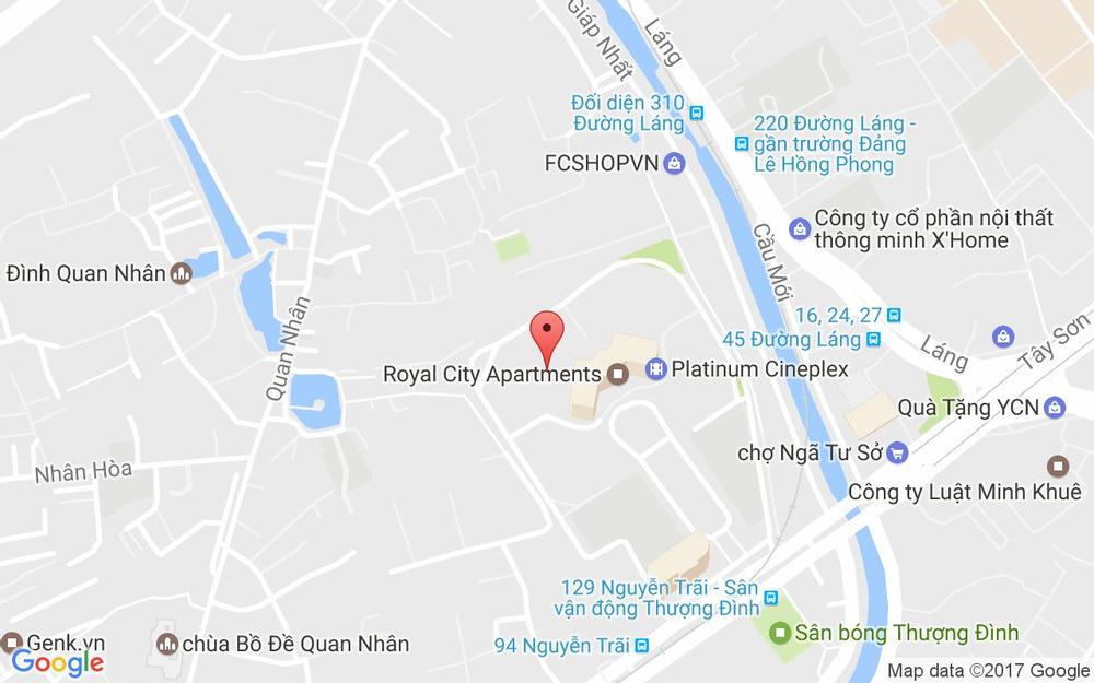Vị trí bản đồ B2-R2-07A, Royal City, 72A Nguyễn Trãi Quận Thanh Xuân Hà Nội