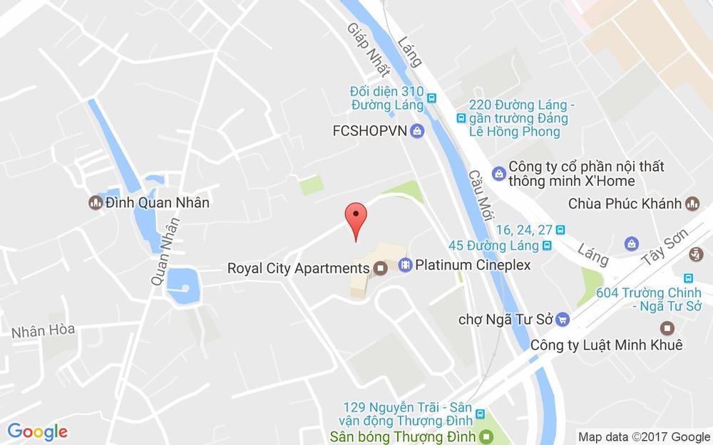 Vị trí bản đồ Lô 40A-B2R6 TTTM Royal City, 72 Nguyễn Trãi Quận Thanh Xuân Hà Nội