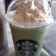 Greentea frappuccino w espresso whip cream n soy milk