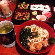 *Bento Box Chicken Teriyaki - Gà chiên kèm sốt ngọt Teriyaki - 62k *Chicken Karaage Udon Noodle - Mỳ Udon kèm gà rán Karaage - 66k *Hot Japanese Green Tea - Trà Nhật - 10k *Peach Tea with milk -18k